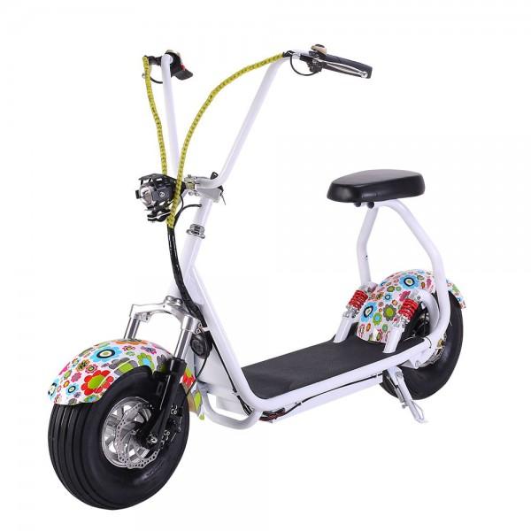Электрический скутер EL-Sport Mini Citycoco 800W белый с цветочками фото